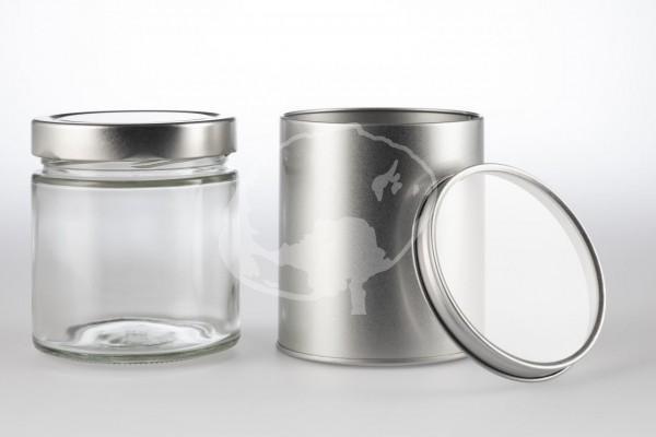 Gewürzbehälter Glas und Blechdose mit Sichtdeckel